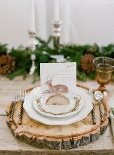 Rustic Winter Place Setting - love the log slice charger