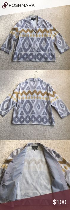 Gorgeous LAFAYETTE 148 linen jacket LAFAYETTE 148 jacket • 100% linen • loose fit • Aztec pattern • gray and yellow • Sz M • excellent, like-new condition • fast same/next day shipping • BUNDLE & BUY IT NOW!!! Lafayette 148 New York Jackets & Coats