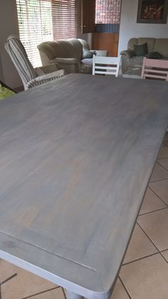 """New Dining room table """"white washed"""" with Hurricane of Granny B"""