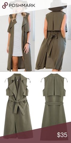 - ARMY GREEN DUSTER TRENCH VEST - Super soft brushed cotton feel this army green duster trench vest is perfect for fall layering. Wear to brunch with ripped jeans and vans or dress up for a night out with a form fitting dress and nude heels. NWT comes in original dust bag.                                                                         Bundle & Save 15% on 2+ items!                         No trades / selling off of Posh.                     Offers always welcome! (low-ball offer…