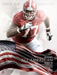 Alabama All-American OL, Arie Kuoundjio. #Alabama #RollTide #BuiltByBama