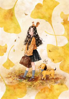 Image shared by Naty. Find images and videos about girl, wallpaper and dog on We Heart It - the app to get lost in what you love. Cartoon Girl Images, Cartoon Girl Drawing, Cartoon Art Styles, Girl Cartoon, Character Illustration, Illustration Art, Art Sketches, Art Drawings, Beautiful Fantasy Art