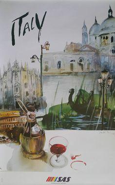 1992 Italy Travel Poster by SAS Original by OutofCopenhagen