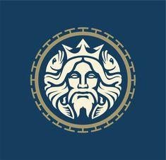 Modern Poseidon / Neptune logo.   Logo s prikazom Posejdona / Neptuna. Poseidon Logo, Poseidon Tattoo, Griffin Logo, Spartan Logo, Fantasy Logo, Lion Head Logo, Unicorn Logo, Bull Logo, Helmet Logo