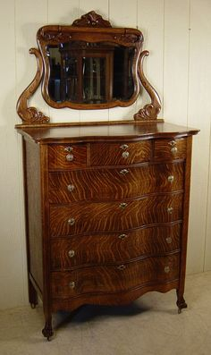 Serpentine Chest with mirror Dresser Furniture, Wood Dresser, Refurbished Furniture, Dressers, Antique Furniture, Victorian Furniture, Victorian Homes, Primitives, Reuse
