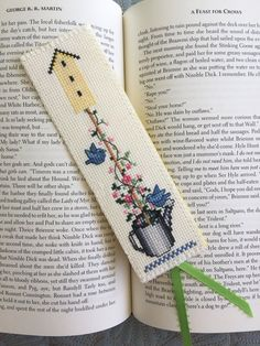 Finished Cross Stitch Bookmark My Backyard Flower IV