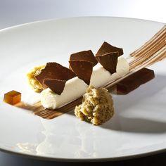 Deconstructed tiramisu - Mascarpone mousse, espresso gelee, chocolate crocante, espresso Marsala soaked sponge cake by Antonio Bachour