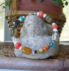 beach bracelet lampwork bead ocean jasper bangle by