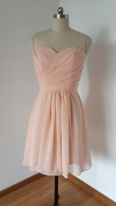 2015 Sweetheart Light Peach Chiffon Short by DressCulture on Etsy