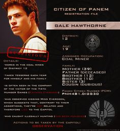 Citizen of Panem Registration File : Gale Hawthorne Hunger Games Characters, Divergent Hunger Games, Hunger Games Memes, Hunger Games Cast, Hunger Games Fandom, Hunger Games Catching Fire, Hunger Games Trilogy, Catching Fire Quotes, Katniss Everdeen