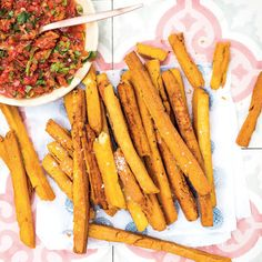 Chickpea fries with smoky tomato relish