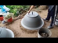 how to make a cement bonsai pot, make a new bonsai pot with the simple tools Concrete Crafts, Concrete Pots, Cement Art, Papercrete, Dream Garden, Flower Pots, Decoration, Tools, Simple