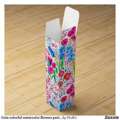 Cute colorful watercolor flowers pattern Wine Gift Box