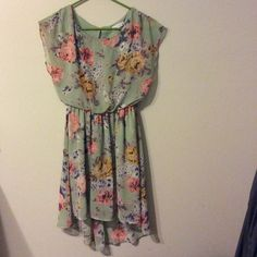Lush Brand Floral & Mint Dress Lush brand floral and mint mini dress with cascading back size small no flaws. I absolutely love it but it's too short in the front for me to wear to work!! Lush Dresses Midi