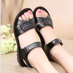 Genuine Leather Sandals For Mother Summer Beach Shoes – chiclinen summer sandals sandals outfit casual fashion flat sandals sandals flatlay boho sandals outfit Shoes Flats Sandals, Boho Sandals, Fashion Sandals, Wedge Sandals, Sandals Outfit, Summer Sandals, Summer Shoes, Old Shoes, Sandals For Sale