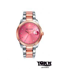 Reloj Bicolor para mujer de Mark Maddox: plateado y rosado. Esfera Rosa. #reloj #relojes #markmaddox #rosa #bicolor #plateado #rosado #mujer