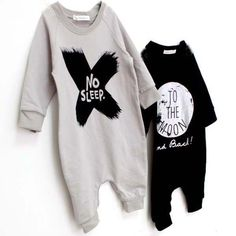 Hipster baby rompers at dashingbaby.com NO SLEEP and TO THE MOON, so cute!!!!