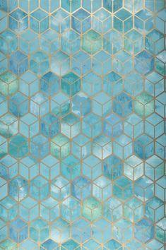 #interiordesign#wallpaper #turquoisewallpaper Wallpaper Verde, Gold Wallpaper, Bathroom Wallpaper, Wallpaper Samples, Pattern Wallpaper, Iphone Wallpaper, Geometric Wallpaper Turquoise, Turquoise Walls, Turquoise Pattern