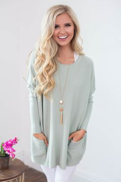 Loving My Life Pocket Sweater Sage - The Pink Lily
