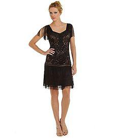 Gasp Black Fringe Flapper Dress