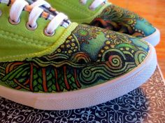 by LeeAnn Denzer.  Dye Sneakers.  Zentangle with Tulip fabric markers.
