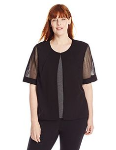 Nine West Womens PlusSize Mesh Short Sleeve Suit Jacket Black 16W >>> Check out this great product.