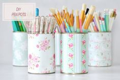 diy penpots... great way to make them match your decor or spruce things up
