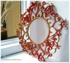 Recycled Toilet Paper Roll Wreath or mirror frame Toilet Paper Roll Art, Toilet Paper Roll Crafts, Diy Paper, Paper Towel Rolls, Cardboard Art, Recycled Art, Diy Wall Art, Wall Decor, Paper Quilling
