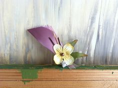 Ivory Silk Flower with Bronce Center atop by nickelbugdesigns, $5.25