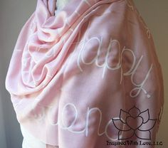 Custom Hand-painted Script Pashmina Script Baby Pink Scarf (Viscose/Acrylic blend) - Made to Order