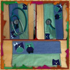Porta estetoscópio para veterinária feito em feltro