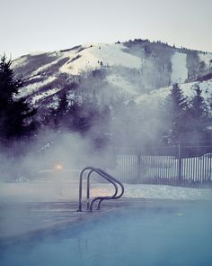 mountains and the pool
