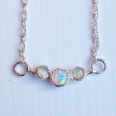 NEW || Opal Trio Necklace .925 || Shop now @thebohotrader