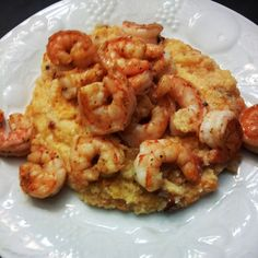 Paleo Cajun Shrimp and Grits (grits are really cauliflower & sweet potato)