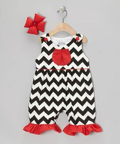 Take a look at this Black Zigzag Ruffle Romper  Bow Clip - Infant  Toddler by Molly Pop Inc. on #zulily today!