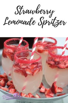 This is an easy party drink recipe for Strawberry Lemonade Spritzer! It could be a nonalcoholic punch recipe for Christmas punch. It's really yummy with candy sugar on the glasses. It's a fun punch for kids. It is a pretty red punch. #SYD #Christmas #Easter #Party #Punch