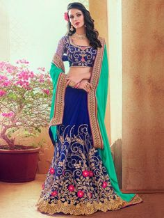 789371e4d Sea Green and Blue Georgette Saree with Embroidery Work Wedding Sari