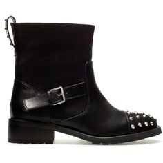 Zara Ankle Boot With Studded Toe ($40) found on Polyvore