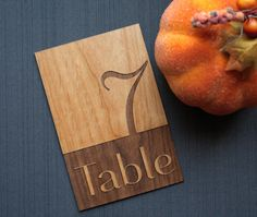 Wood Table Number Cards for Weddings and Parties by TriElegance