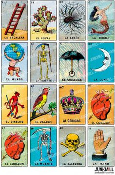 9 Best Images of Mexican Bingo Cards Free Printable - Loteria Mexican Bingo Cards Printable, Loteria Mexican Bingo Cards Printable and Loteria Mexican Bingo Game Bingo Cards To Print, Printable Cards, Printables, Free Printable, Vintage Tarot Cards, Loteria Cards, Mexican Artwork, Christmas Photo Props, Card Tattoo