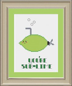 You're sublime: cute lime cross-stitch pattern