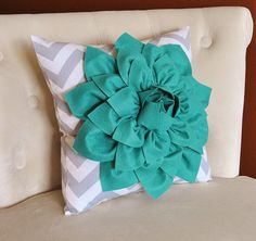 Teal Dahlia on Gray and White Zigzag Pillow Chevron by bedbuggs, $35.00