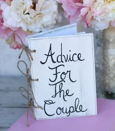 Bridal Shower Guest Book Shabby Chic Wedding Decor Advice For The Couple from braggingbags on Etsy. My Perfect Wedding, Plan My Wedding, Cute Wedding Ideas, Wedding Guest Book, Diy Wedding, Rustic Wedding, Wedding Planning, Dream Wedding, Wedding 2015