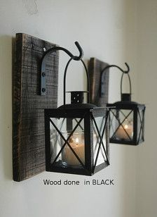 Lantern Pair with wrought iron hooks on recycled wood board for unique wall deco. Lantern Pair with wrought iron hooks on recycled wood board for unique wall decor, home decor, bedroom decor on Keep. View it now. Decor, Home Decor Bedroom, Recycled Wood, Farmhouse Furniture, Wrought Iron Hooks, Black Lantern, Lanterns, Home Decor, Rustic Decor