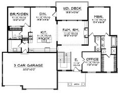Craftsman Style House Plans - 1961 Square Foot Home , 1 Story, 2 Bedroom and 2 Bath, 3 Garage Stalls by Monster House Plans - Plan European Plan, European House Plans, Modern House Plans, Small House Plans, Bungalow Floor Plans, Craftsman Style House Plans, Ranch House Plans, House Floor Plans, Basement House Plans