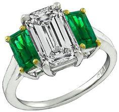 GIA Certified 2.27ct Diamond 1.06ct Emerald Engagement Ring Photo 1