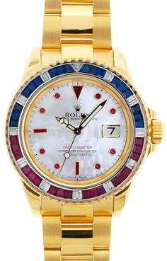 Rolex Yachtmaster Yellow Gold MOP Ruby Around Dial / Red, Blue Stone Bezel