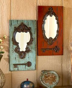 Add a unique accent to your home with this Vintage Key Wall Mirror. An ornate frame holds a mirror on a plaque with an antique-looking key displayed below. home accent, Vintage Key Wall Mirrors Door Crafts, Key Crafts, Gold Home Decor, Home Accents, Accent Decor, Wall Decor, Antiques, Frame, Homemade Home Decor