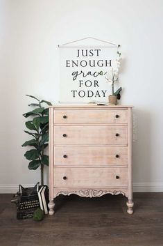 Check out how we transformed a dresser from Facebook Marketplace. Get the full makeover details and list of products used here. Here's what the dresser looked like when we bought it on Facebook marketplace.The previous owner had started to work on the dresser but didn't end up finishing it. First, I got to work sanding off the old finish that was left on the dresser.This old antique dresser sanded down pretty fast since the old finish was dry and pretty thin. And then I removed Wood Dresser, Modern Dresser, White Washed Furniture, Painted Furniture, Furniture Makeover, Furniture Projects, Diy Furniture, Upscale Furniture, Craft Projects