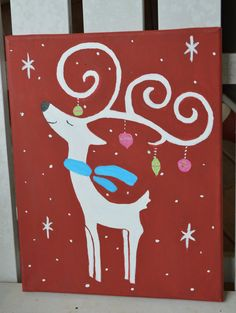 Reindeer Canvas Painting; Holiday Decor; Christmas